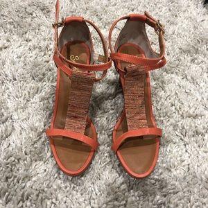 Wedge heels in orange